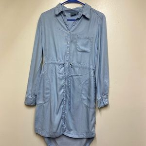 Athleta Light Denim Chambray Dress, Long Sleeve XS